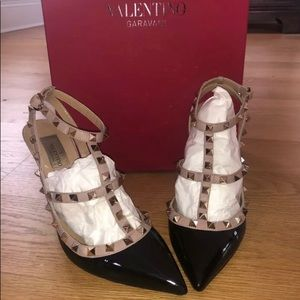 Valentino Rock Stud black patent & leather shoes